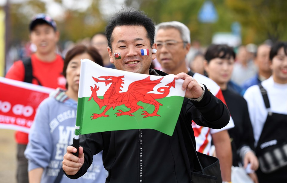 20.10.19 - Wales v France - Rugby World Cup Quarter Final -Wales fans ahead of kick off.