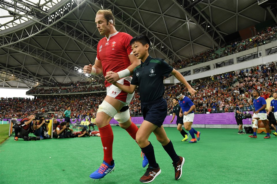 20.10.19 - Wales v France - Rugby World Cup Quarter Final - Alun Wyn Jones of Wales runs out with mascot.