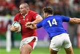 20.10.19 - Wales v France - Rugby World Cup Quarter Final - Ken Owens of Wales is tackled by Damian Penaud of France.