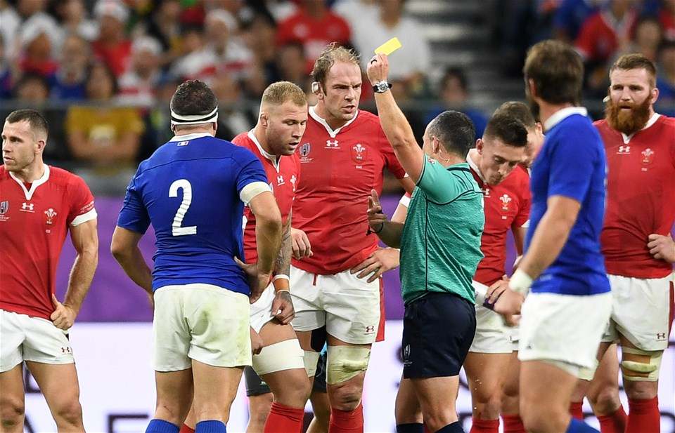 20.10.19 - Wales v France - Rugby World Cup Quarter Final - Ross Moriarty of Wales is given a yellow card by Referee Jaco Peyper.