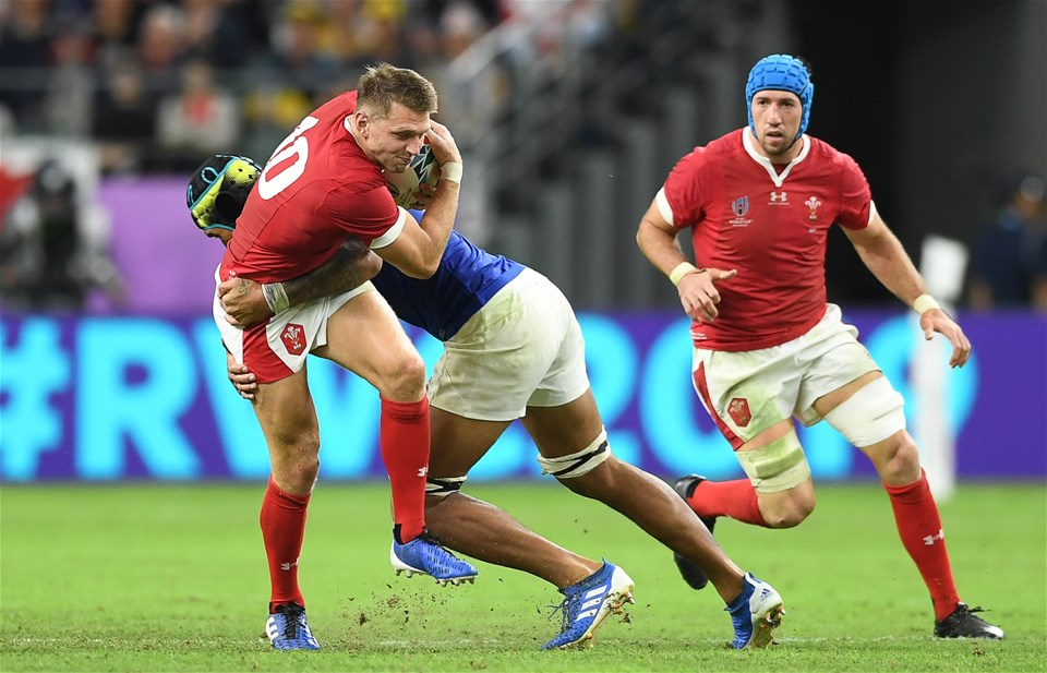 20.10.19 - Wales v France - Rugby World Cup Quarter Final - Dan Biggar of Wales is tackled by Gregory Alldritt of France.