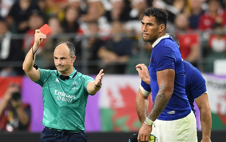 20.10.19 - Wales v France - Rugby World Cup Quarter Final - Sebastien Vahaamahina of France is given a red card by Referee Jaco Peyper after elbowing Aaron Wainwright in the face.