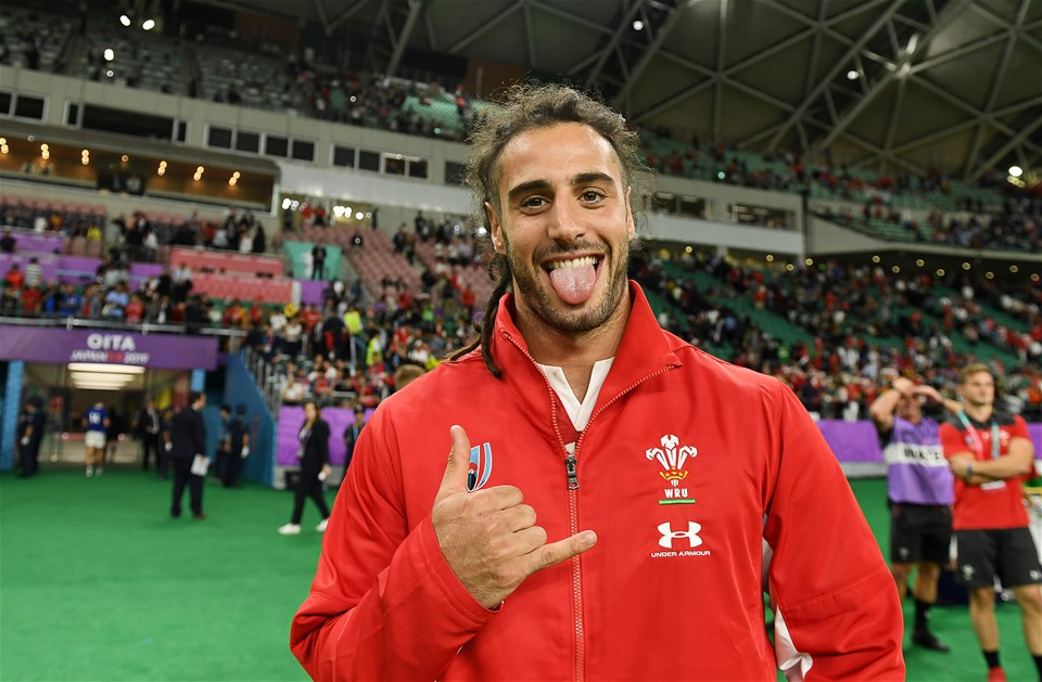 20.10.19 - Wales v France - Rugby World Cup Quarter Final - Josh Navidi of Wales celebrates at full time.