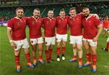 20.10.19 - Wales v France - Rugby World Cup Quarter Final - Wyn Jones, Dillon Lewis, Ken Owens, Elliot Dee, Rhys Carre and Tomas Francis of Wales at full time.