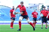 23.10.19 - Wales Rugby Training -Aaron Wainwright during training.