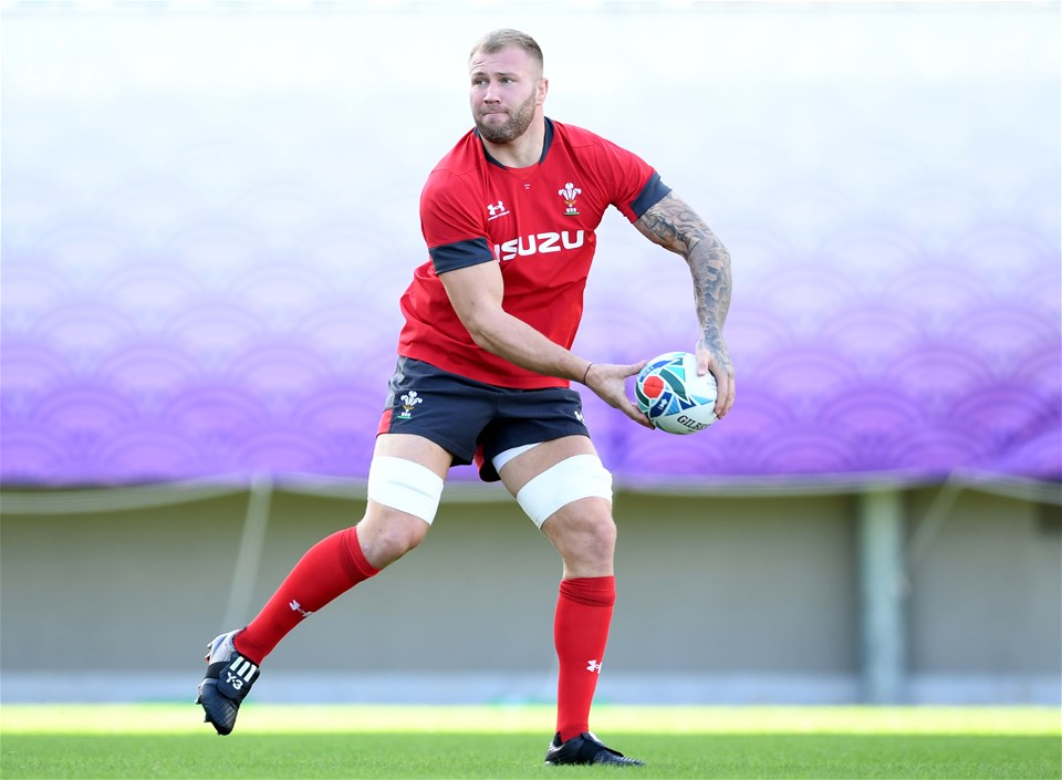 26.10.19 - Wales Rugby Training -Ross Moriarty during training.