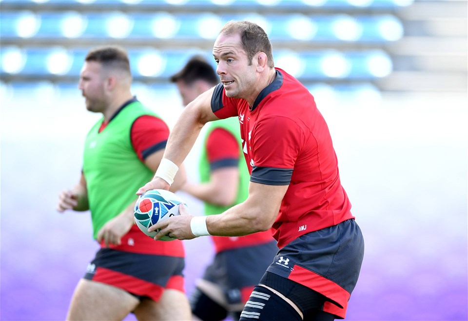 26.10.19 - Wales Rugby Training -Alun Wyn Jones during training.