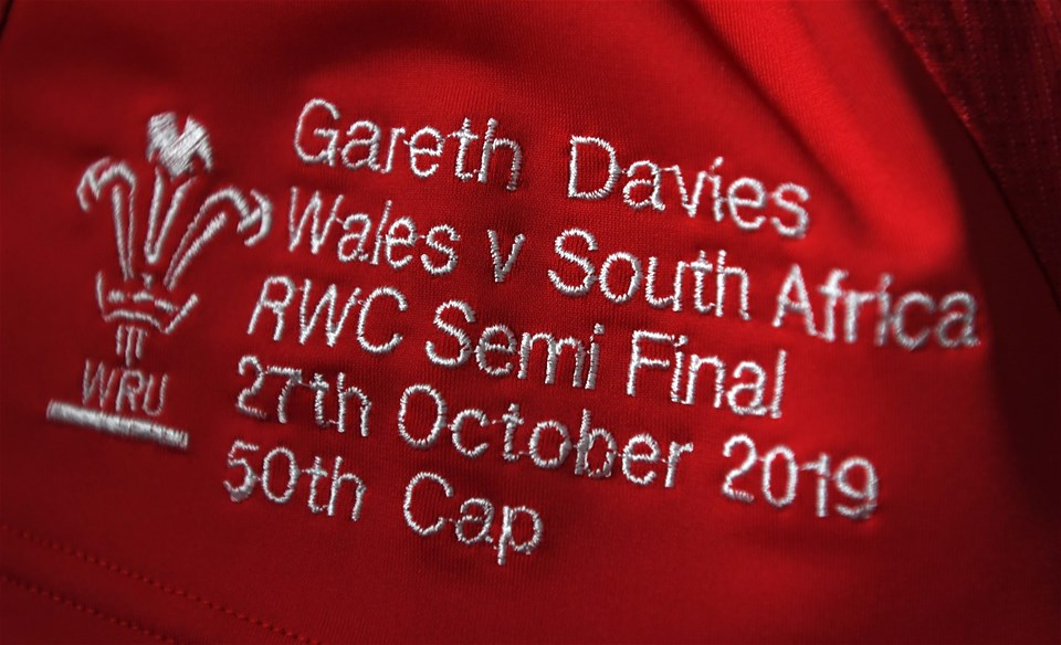27.10.19 - Wales v South Africa - Rugby World Cup Semi-Final -Gareth Davies jersey hangs in the dressing room.