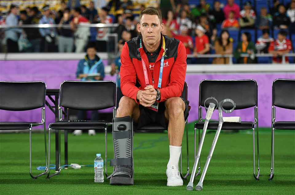 27.10.19 - Wales v South Africa - Rugby World Cup Semi-Final - Liam Williams of Wales sits on the bench injured.