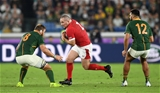 27.10.19 - Wales v South Africa - Rugby World Cup Semi-Final - Ken Owens of Wales is tackled by Duane Vermeulen of South Africa.