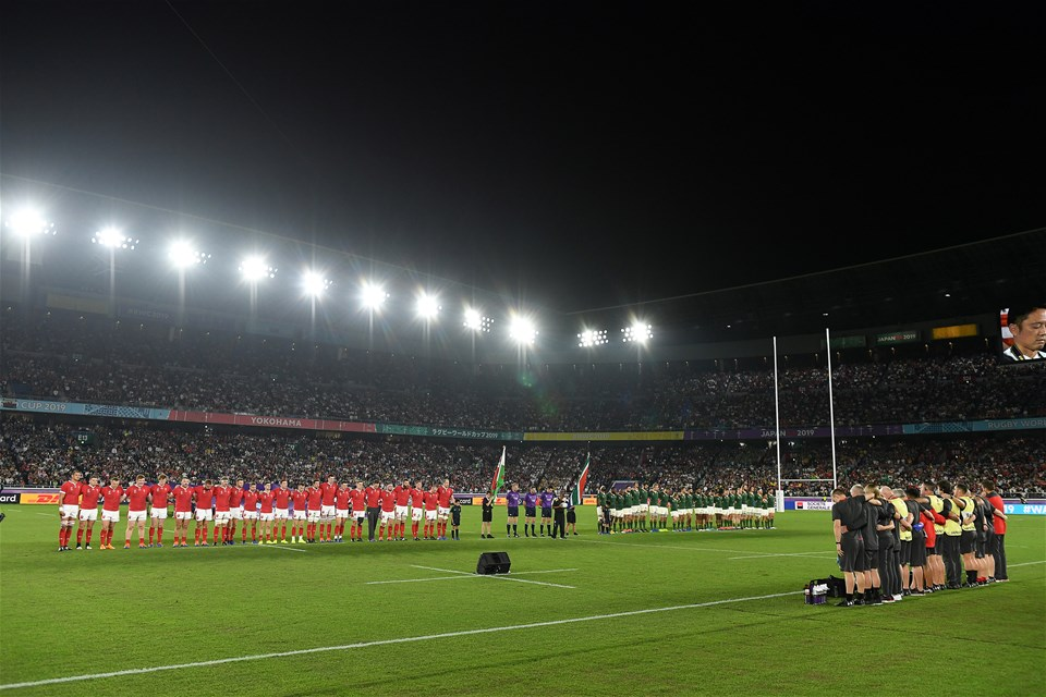 27.10.19 - Wales v South Africa - Rugby World Cup Semi-Final - Wales during the anthem.