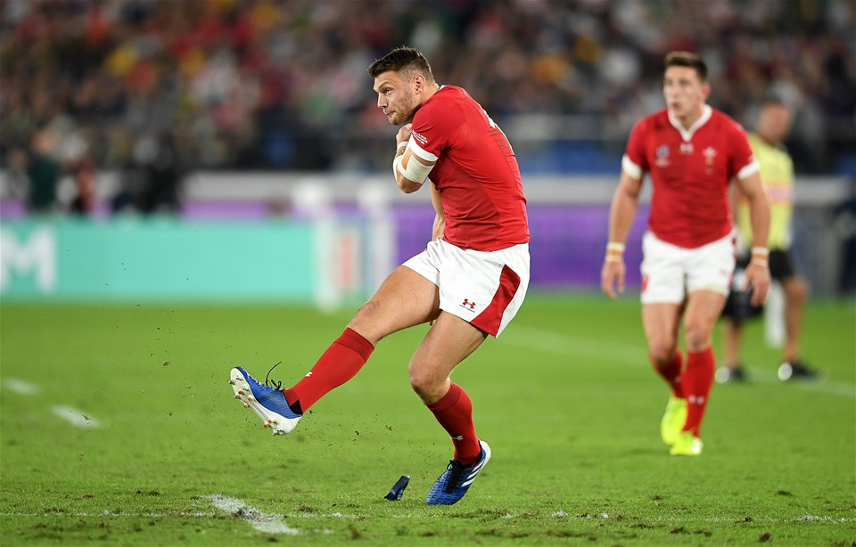 27.10.19 - Wales v South Africa - Rugby World Cup Semi-Final - Dan Biggar of Wales kicks a penalty.