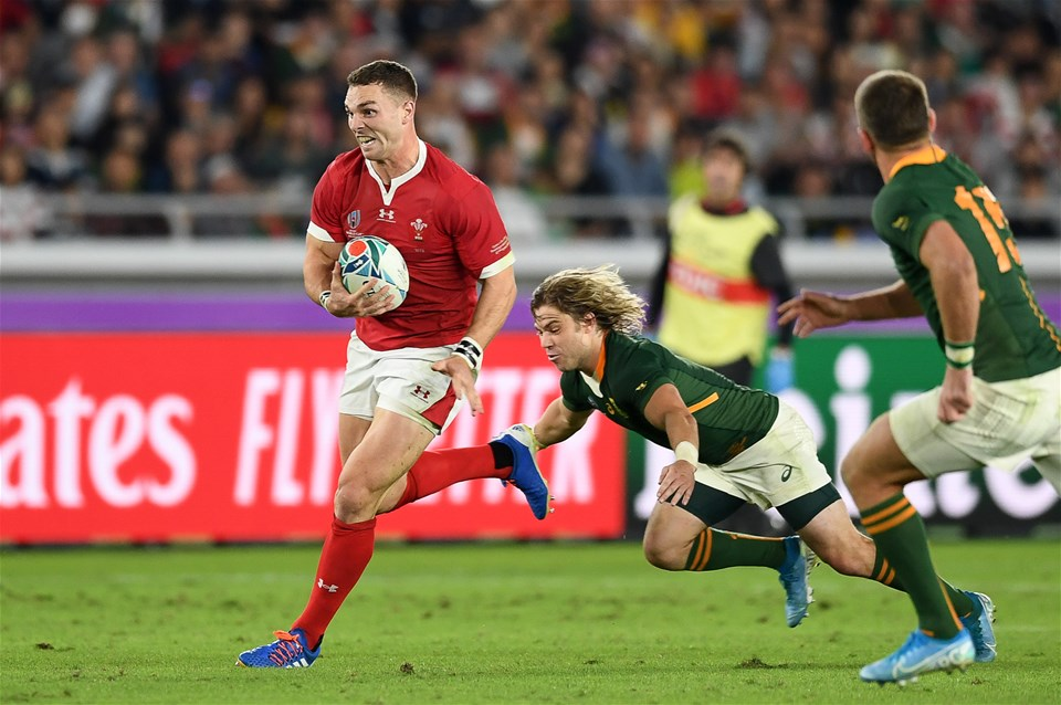 27.10.19 - Wales v South Africa - Rugby World Cup Semi-Final - George North of Wales is tackled by Faf de Klerk of South Africa.
