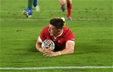 27.10.19 - Wales v South Africa - Rugby World Cup Semi-Final - Josh Adams of Wales runs in to score a try.