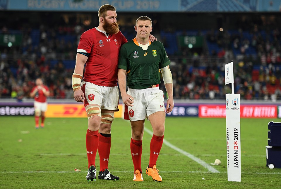 27.10.19 - Wales v South Africa - Rugby World Cup Semi-Final - Dejected Jake Ball and Hadleigh Parkes of Wales.