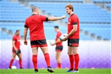 31.10.19 - Wales Rugby Training -Ken Owens and Rhys Patchell during training.