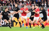 01.11.19 - New Zealand v Wales - Rugby World Cup Bronze Final - Josh Adams of Wales is caught by Aaron Smith of New Zealand.