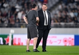 01.11.19 - New Zealand v Wales - Rugby World Cup Bronze Final - New Zealand head coach Steve Hansen talks to Stephen Jones.