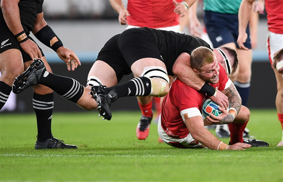 01.11.19 - New Zealand v Wales - Rugby World Cup Bronze Final - Ross Moriarty of Wales is tackled by Shannon Frizell of New Zealand.