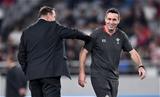 01.11.19 - New Zealand v Wales - Rugby World Cup Bronze Final - New Zealand head coach Steve Hansen and talks to Stephen Jones.