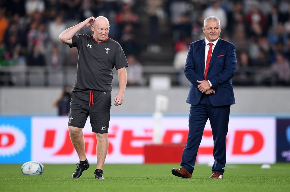 01.11.19 - New Zealand v Wales - Rugby World Cup Bronze Final - Neil Jenkins and Wales head coach Warren Gatland.