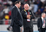 01.11.19 - New Zealand v Wales - Rugby World Cup Bronze Final - New Zealand head coach Steve Hansen talks to Wales Team Manager Alan Phillips.