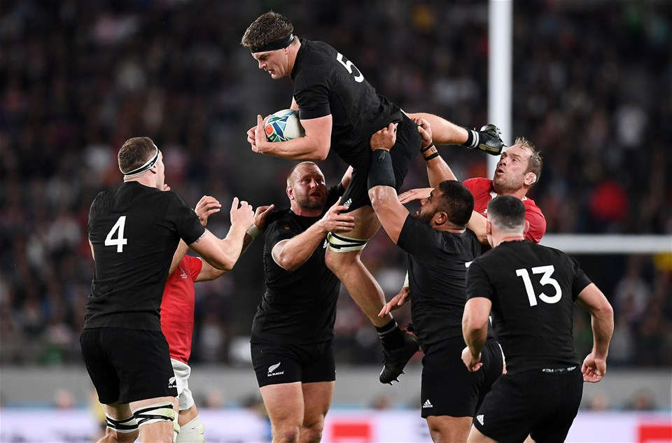 01.11.19 - New Zealand v Wales - Rugby World Cup Bronze Final - Scott Barrett of New Zealand gets the line out ball.