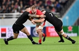 01.11.19 - New Zealand v Wales - Rugby World Cup Bronze Final - Ross Moriarty of Wales is tackled by Sonny Bill Williams and Sam Cane of New Zealand.