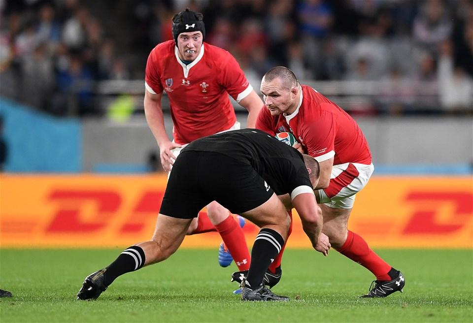 01.11.19 - New Zealand v Wales - Rugby World Cup Bronze Final - Ken Owens of Wales is tackled by Joe Moody of New Zealand.