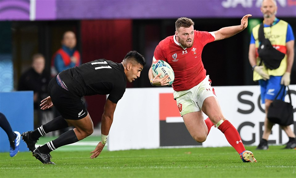 01.11.19 - New Zealand v Wales - Rugby World Cup Bronze Final - Owen Lane of Wales is challenged by Rieko Ioane of New Zealand.