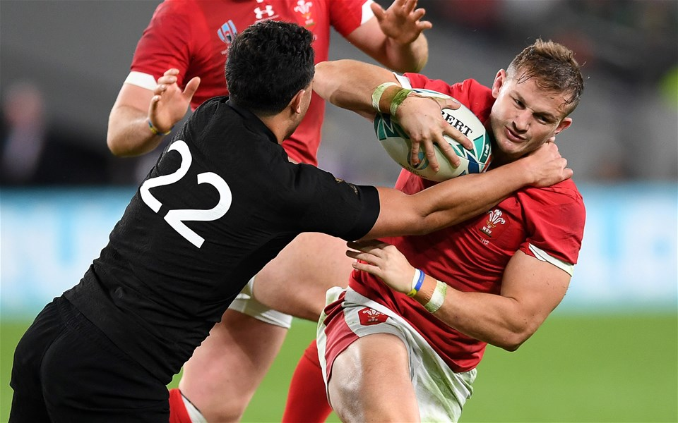 01.11.19 - New Zealand v Wales - Rugby World Cup Bronze Final - Hallam Amos of Wales is tackled by Anton Lienert-Brown of New Zealand.