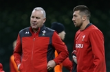 29.11.19 - Wales Captains Run, Principality Stadium -  Wales head coach Wayne Pivac with captain Justin Tipuric during Captains Run ahead of their match against the Barbarians