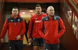 29.11.19 - Wales Captains Run, Principality Stadium -  Wales attack coach Stephen Jones, left, captain Justin Tipuric and head coach Wayne Pivac make their way to the pitch during Captains Run ahead of their match against the Barbarians