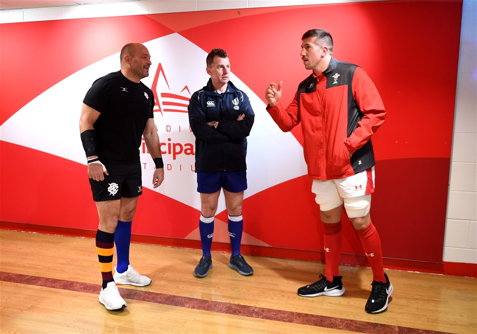 30.11.19 - Wales v Barbarians - International Rugby -Rory Best of Barbarians, Referee Nigel Owens and Justin Tipuric of Wales during the coin toss.