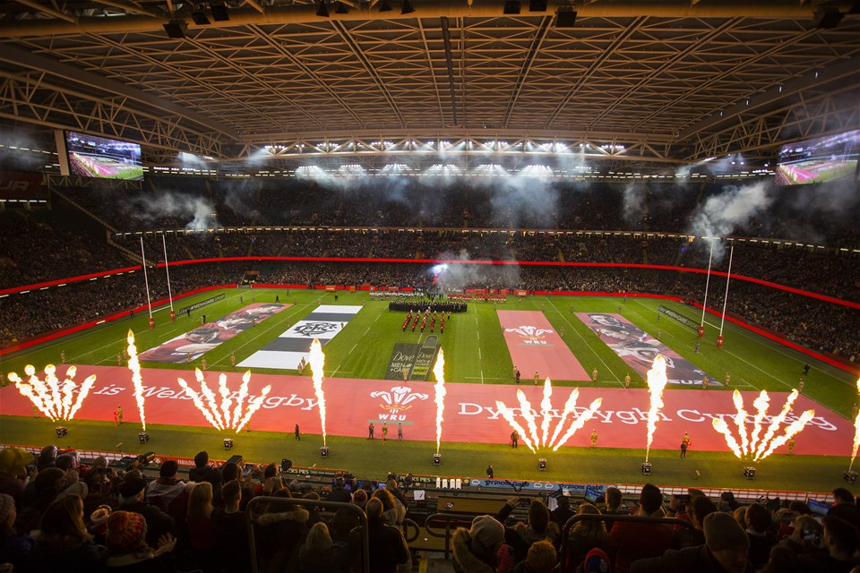 30.11.19 - Wales v Barbarians -  Teams run out onto the pitch amongst the flames.
