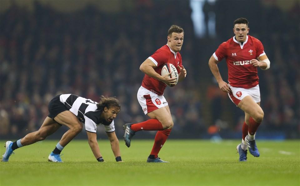 30.11.19 - Wales v Barbarians, Principality Stadium - Jarrod Evans of Wales looks to break away