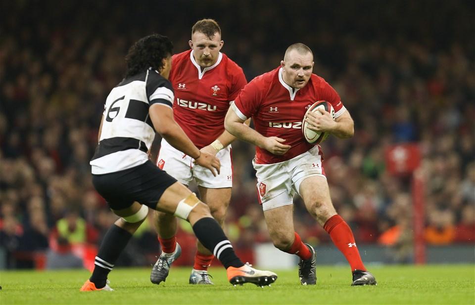 30.11.19 - Wales v Barbarians, Principality Stadium - Ken Owens of Wales takes on Pete Samu of Barbarians