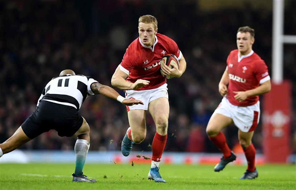 30.11.19 - Wales v Barbarians - International Rugby -Johnny McNicholl of Wales is tackled by Cornal Hendricks of Barbarians.