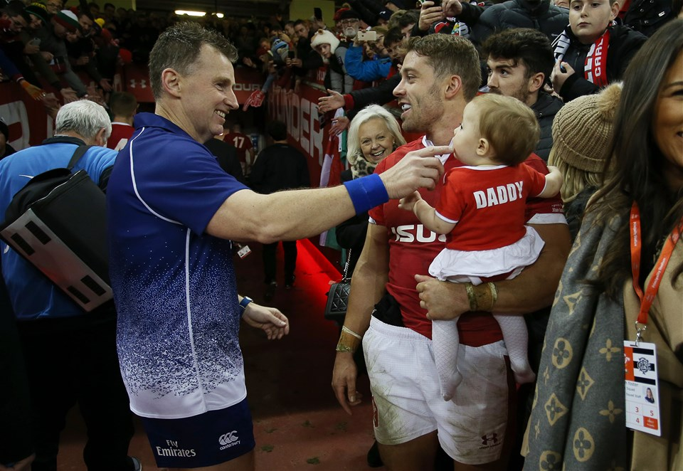 30.11.19 - Wales v Barbarians - Referee Nigel Owens laughs with Leigh Halfpenny of Wales and his daughter.