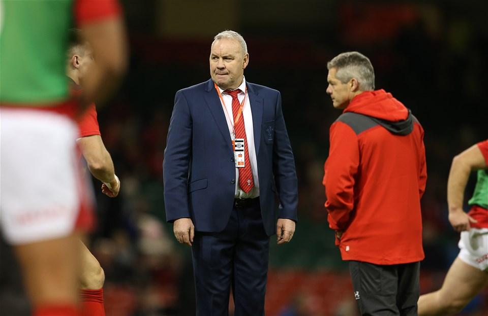 30.11.19 - Wales v Barbarians - Wales Head Coach Warren Gatland and Byron Hayward.