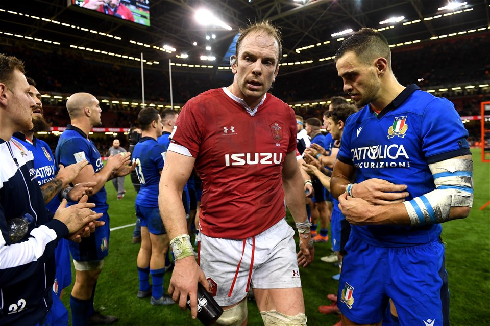 01.02.20 - Wales v Italy - Guinness Six Nations -Alun Wyn Jones of Wales at the end of the game.