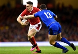 01.02.20 - Wales v Italy - Guinness Six Nations -Josh Adams of Wales takes on Luca Morisi of Italy.