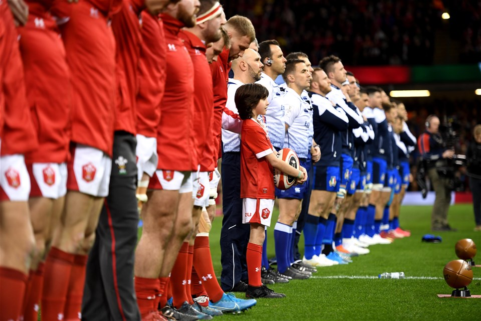 01.02.20 - Wales v Italy - Guinness Six Nations -Mascot during the anthems.