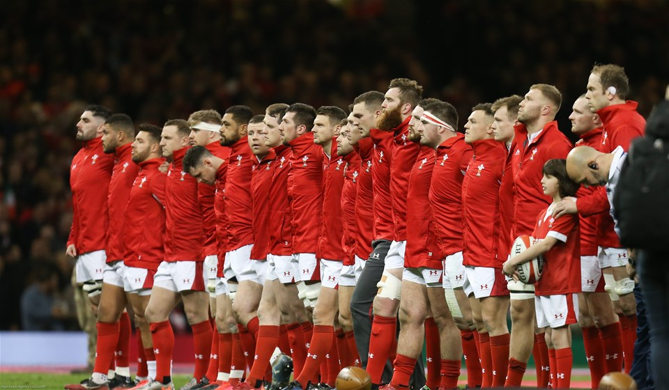 01.02.20 - Wales v Italy, Guinness Six Nations -    The Wales team line up for the anthems