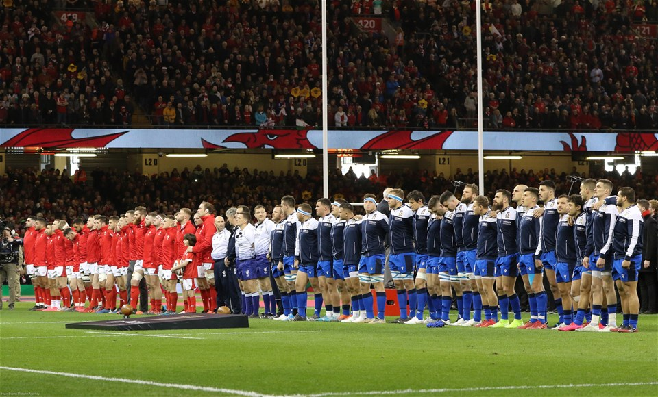 01.02.20 - Wales v Italy, Guinness Six Nations -    The teams line up for the anthems