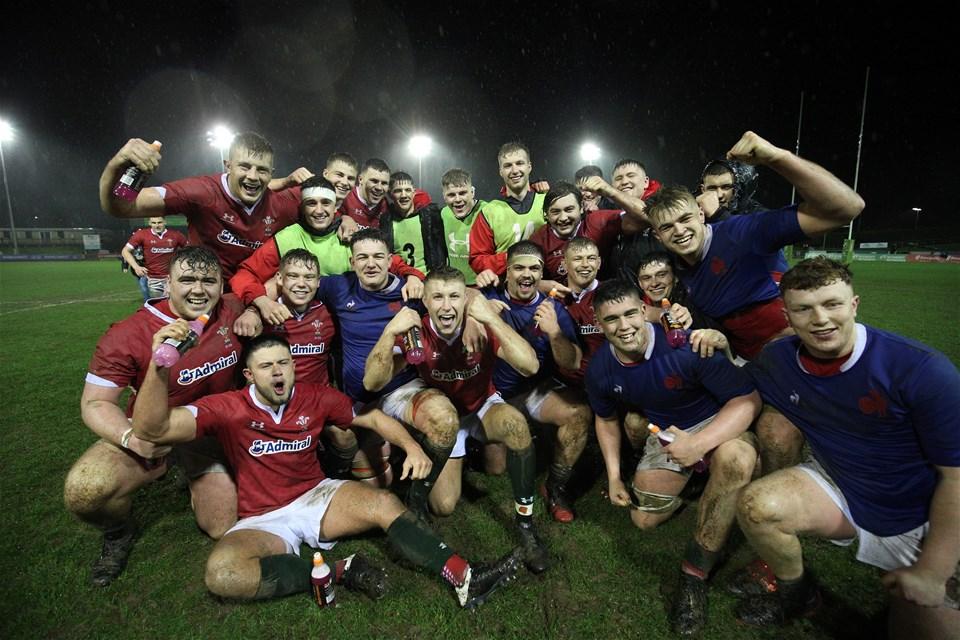 21.02.20 - Wales U20 v France U20, U20 Six Nations Championship 2020 - Wales players celebrate at the end of the match