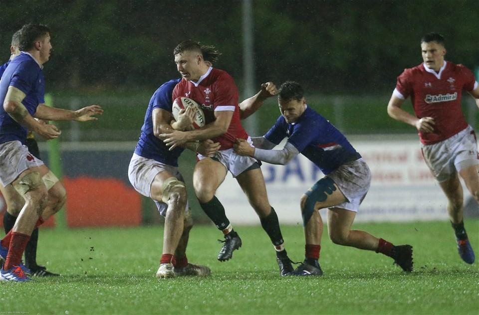 21.02.20 - Wales U20 v France U20, U20 Six Nations Championship - Frankie Jones of Wales takes on the French defence