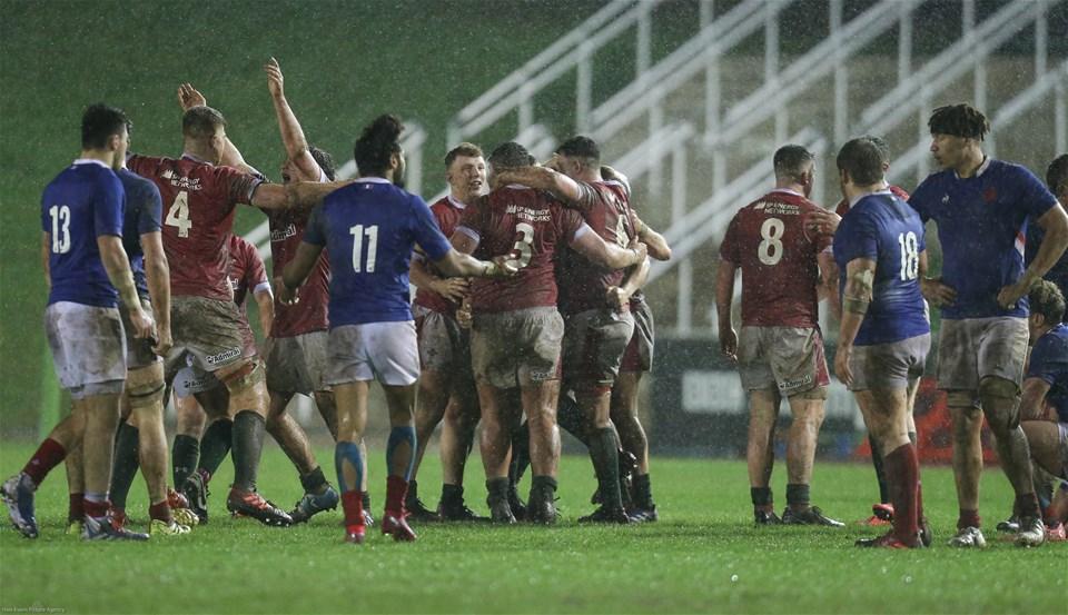 21.02.20 - Wales U20 v France U20, U20 Six Nations Championship - Wales players celebrate on the final whistle