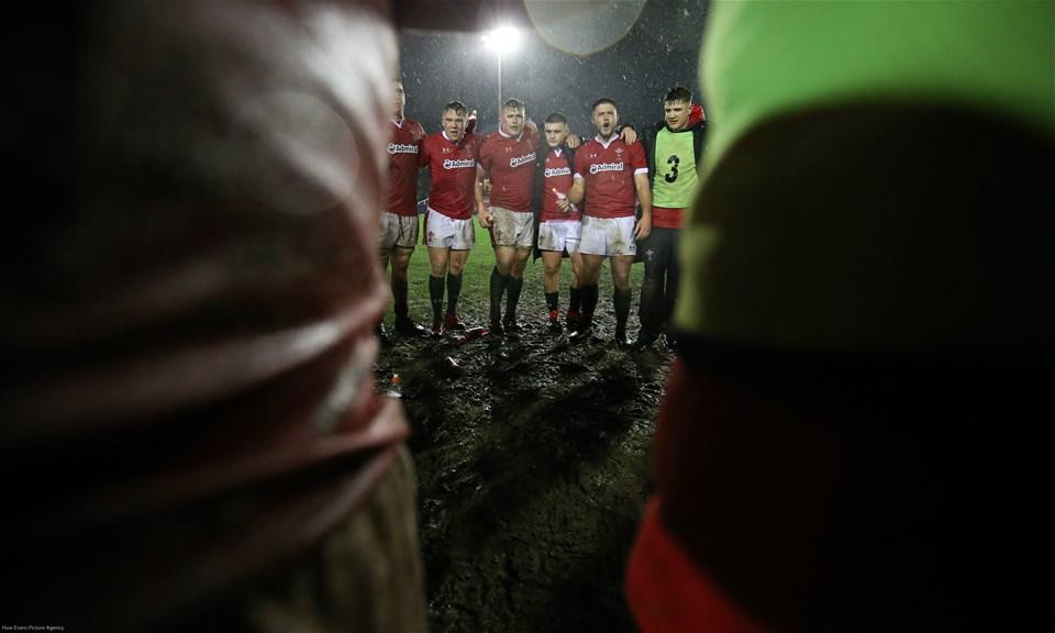 21.02.20 - Wales U20 v France U20, U20 Six Nations Championship - The Welsh team huddle together at the end of the match