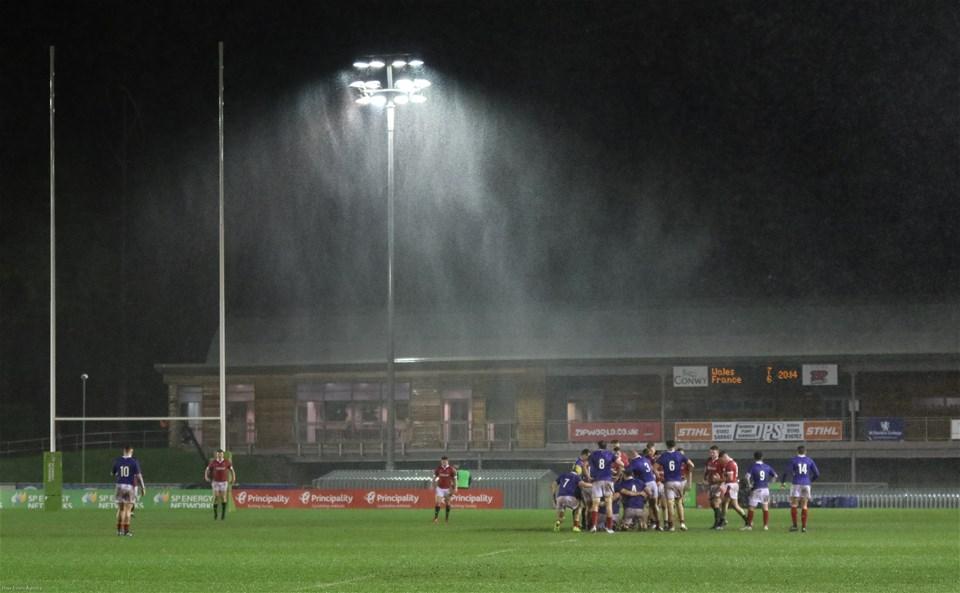 21.02.20 - Wales U20 v France U20, U20 Six Nations Championship - Wales U20 take on France U20 in the rain at Colwyn Bay